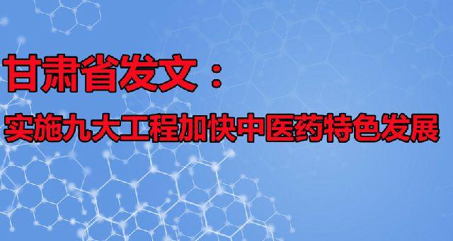 甘肃省发文:实施九大工程加快中医药特色发展